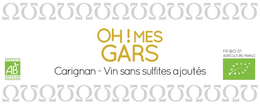 Domaine de la Fouquette | Etiquette Vin Rouge Bio sans sulfites ajoutés - Oh! Mes Gars - Carignan