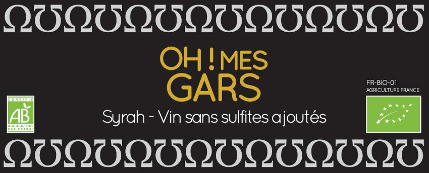 Domaine de la Fouquette | Etiquette Vin Rouge Bio sans sulfites ajoutés - Oh! Mes Gars - Syrah