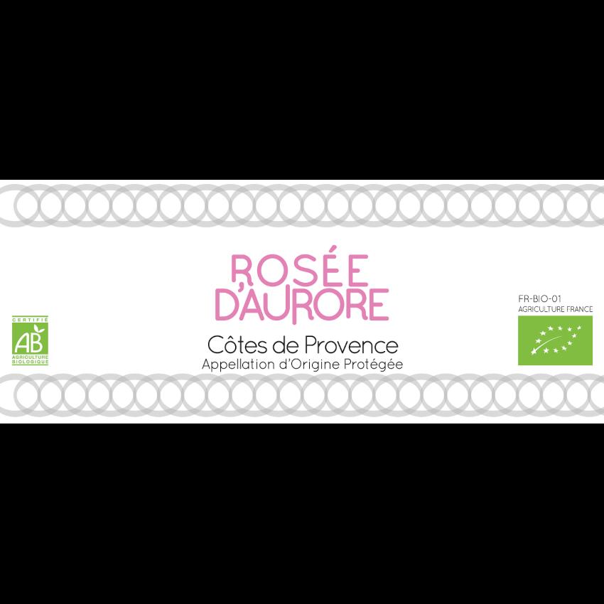 Domaine de la Fouquette | Etiquette Vin Bio - Côtes de Provence Rosé - Rosée d'Aurore